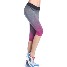 RP09 HOT Gradient Color Women Running Pants Compression capri Pants Yoga Sports Tights trousers sports legging