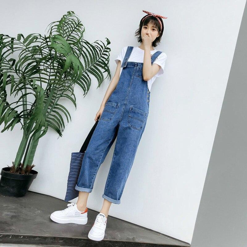 Nouveau 2019 printemps Denim combinaisons pour femmes Jeans pantalon été décontracté ample salopette Denim salopette femme
