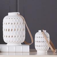 Creativity Chinese Retro White Ceramic Lantern Statue Desktop LED Crafts Sculpture Home Decoration Accessories Figurine 123