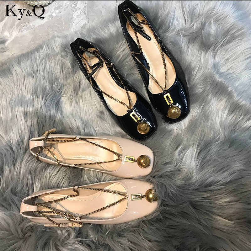 brands newest leather thick with shallow mouth single shoes metal ball chain decoration with round head Mary Jane women&#39s s