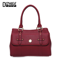 DIZHIGE Solid Top Handle Bags PU Leather Rivet Portable Bag Ladies Handbag Famous Brand Women Bags