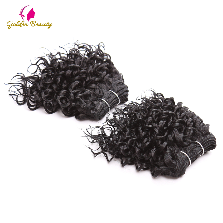 Golden Beauty 8inch Short Black Synthetic Curly Hair Weave Sew In