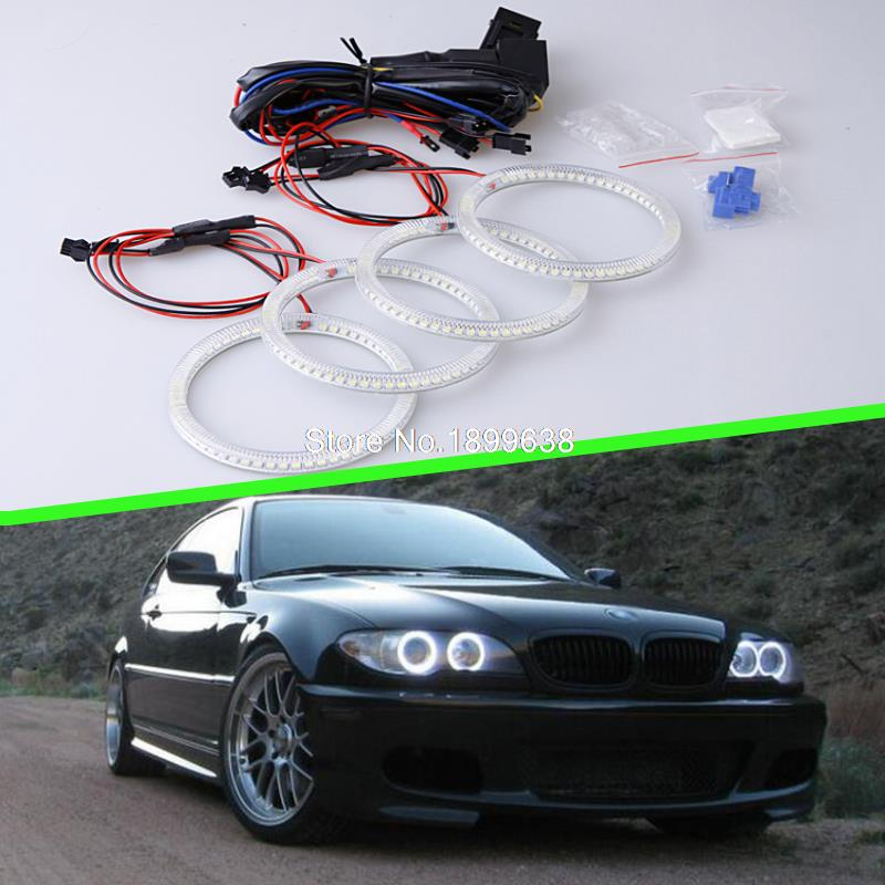 Super bright 7000K white 3528 smd led angel eyes halo rings car styling For BMW LCI E46 2D 2004-2006 Xenon Headlight super bright led angel eyes for bmw x5 2000 to 2006 color shift headlight halo angel demon eyes rings kit