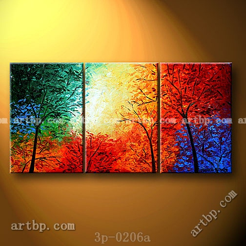 heavenly trees oil painting on canvas modern wall mural 3 panel 3 pcs set wall art classic. Black Bedroom Furniture Sets. Home Design Ideas