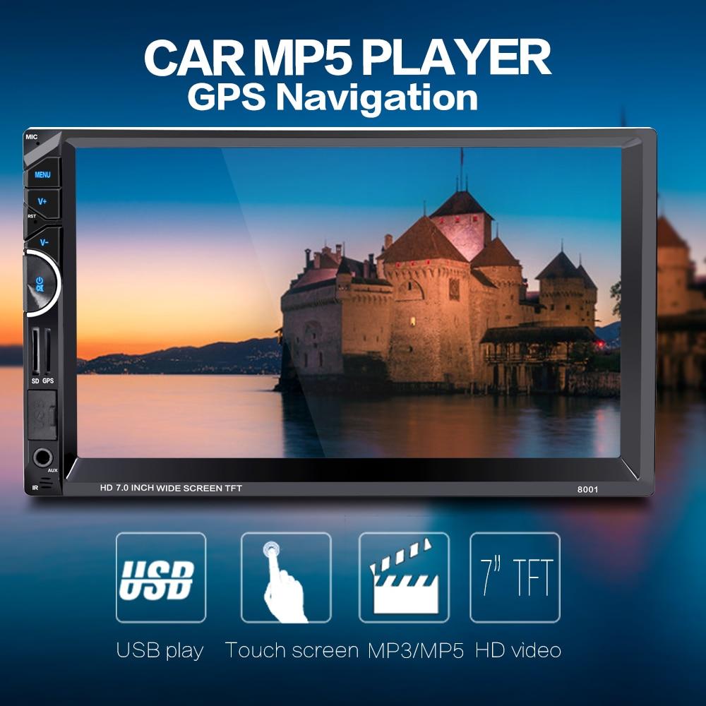 imágenes para 8001 2 Din Coche Reproductor de Vídeo 7 ''2Din Radio de Coche estéreo FM De Navegación GPS RDS Bluetooth Remote Control de Visión Trasera cámara