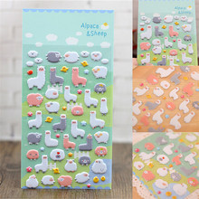 Cute 3D Puffy Sheep Alpaca Cartoon Sticker Kid Scrapbook Diary Photo Album Decor(China)