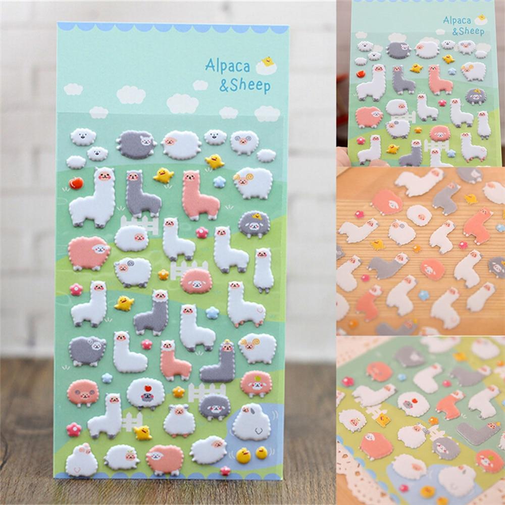 Scrapbook paper canada online - Cute 3d Puffy Sheep Alpaca Cartoon Sticker Kid Scrapbook Diary Photo Album Decor China