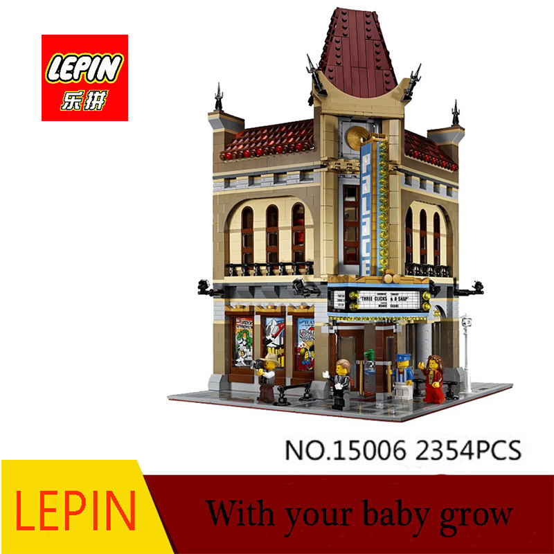 DHL LEPIN 15006 2354PCS City Street Palace Cinema Model Building Blocks set Bricks Toys Compatible with legoed 10232 lepin 02012 city deepwater exploration vessel 60095 building blocks policeman toys children compatible with lego gift kid sets