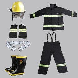 Equipo de Combate de cinco piezas ignífugo ropa de protección contra incendios de alta temperatura guantes de protección zapatos casco