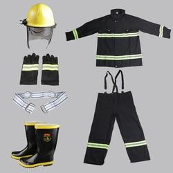 Equipo de bomberos de cinco piezas, trajes de combate ignífugo de alta temperatura, ropa protectora de fuego, guantes de protección, zapatos y casco