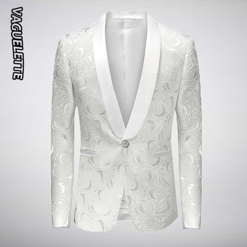 White Embroidered Rose Floral Tuxedos Blazer Men Wedding Dresses Mens Stage Jackets For Singers Fashion Blazer Slim Fit M-4XL