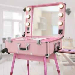 Профессиональная тележка с лампами косметический чехол светодиодный затемняющий большой зеркальный кронштейн съемный блуждающее колесо ...
