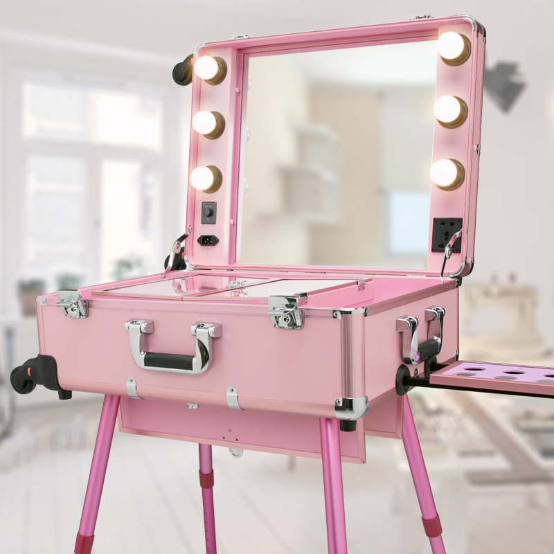 Professional Trolley With Lamps Cosmetic Case LED Dimming Large Mirror Bracket Removable Wandering Wheel With Handheld Toolbox