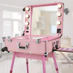Professionele Trolley Met Lampen Cosmetische Case LED Dimmen Grote Spiegel Beugel Verwijderbare Wandering Wiel Met Handheld Toolbox