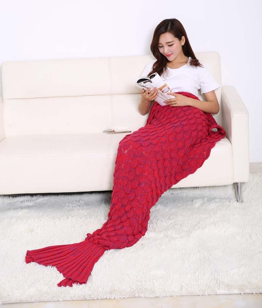 Mermaid Tail Coperta In Pile Morbido Fatto A Mano A Maglia Lap Lancio Bed Wrap Fin Caldo Cocoon Costume Capretti Delle Ragazze Dei Bambini Sacco A Pelo - 6