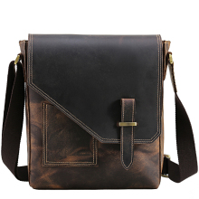 TIANHOO bag men brand genuine leather bags mens shoulder crazy horse retro style for male man