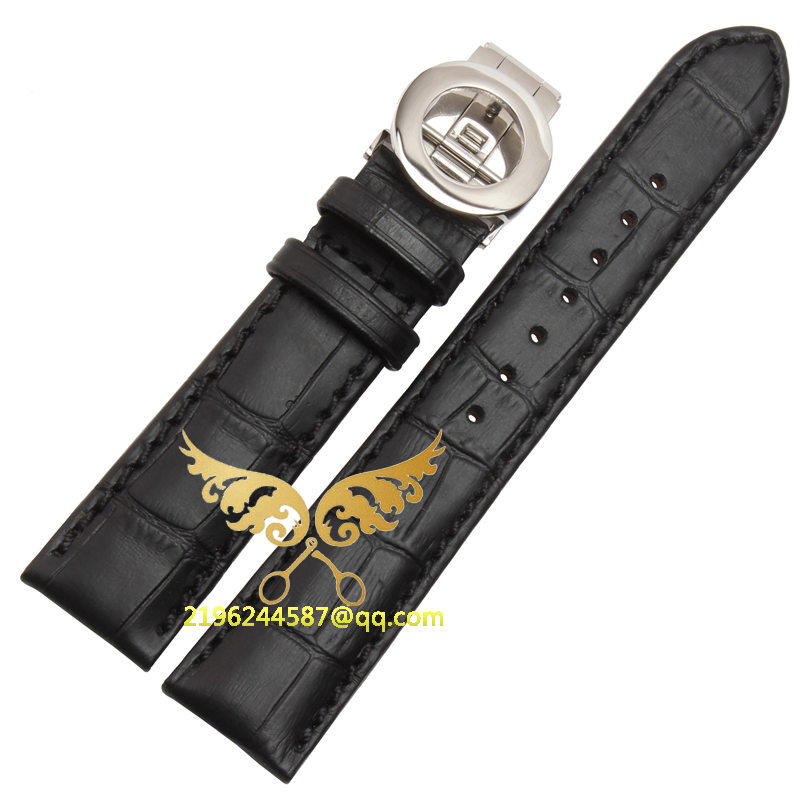 19mm 20mm 21mm 22mm Black Brown Soft Genuine Leather Alligator Grain Watch Band Strap Calf Watchband