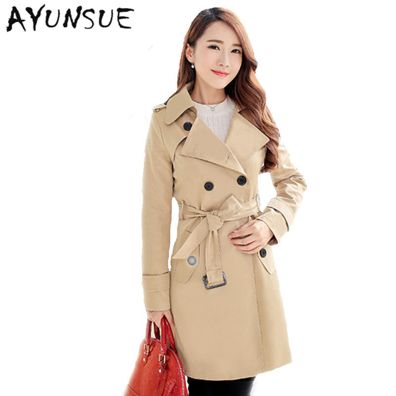 Plus Size Women Clothing Spring Autumn Double Breasted Md-long Coat 2020 New Fashion Belt rench coat for women Outwears   trench