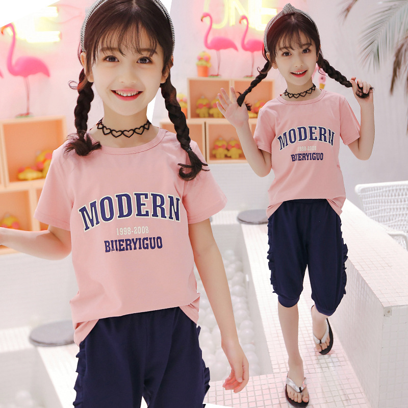 Toddler Girls Summer Clothing Sets Baby Girl Clothes 10 12 Years Kids Set Suits Girls Outfits T-shirts Tops Tees + Cropped Pants