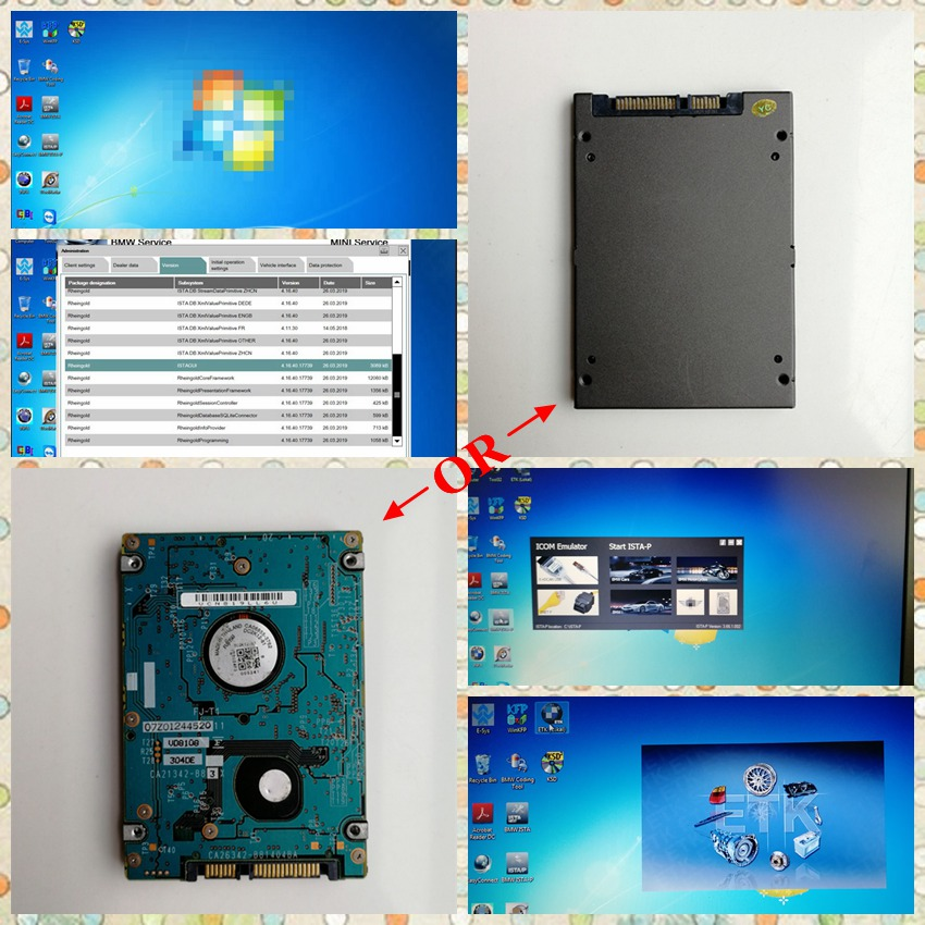For BMW Icom Next A2+B+C V12.2019 Software ISTA-D 4.20 ISTA-P 3.66 Inpa 500GB HDD / 480GB SSD win7 64bit with Expert Mode