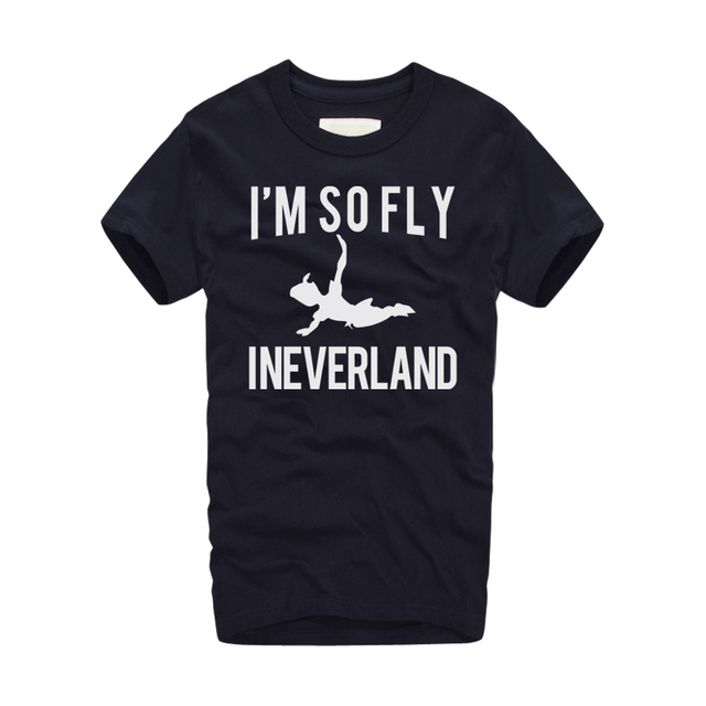 America movies Peter Pan tshirts creative design I'M SO FLY INEVERLAND letters printed T-shirt Summer new short sleeve t-shirt