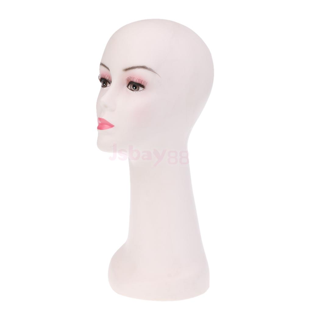 PVC Women Mannequin Head Wig Hat Display Mold with Table Clamp Holder Random