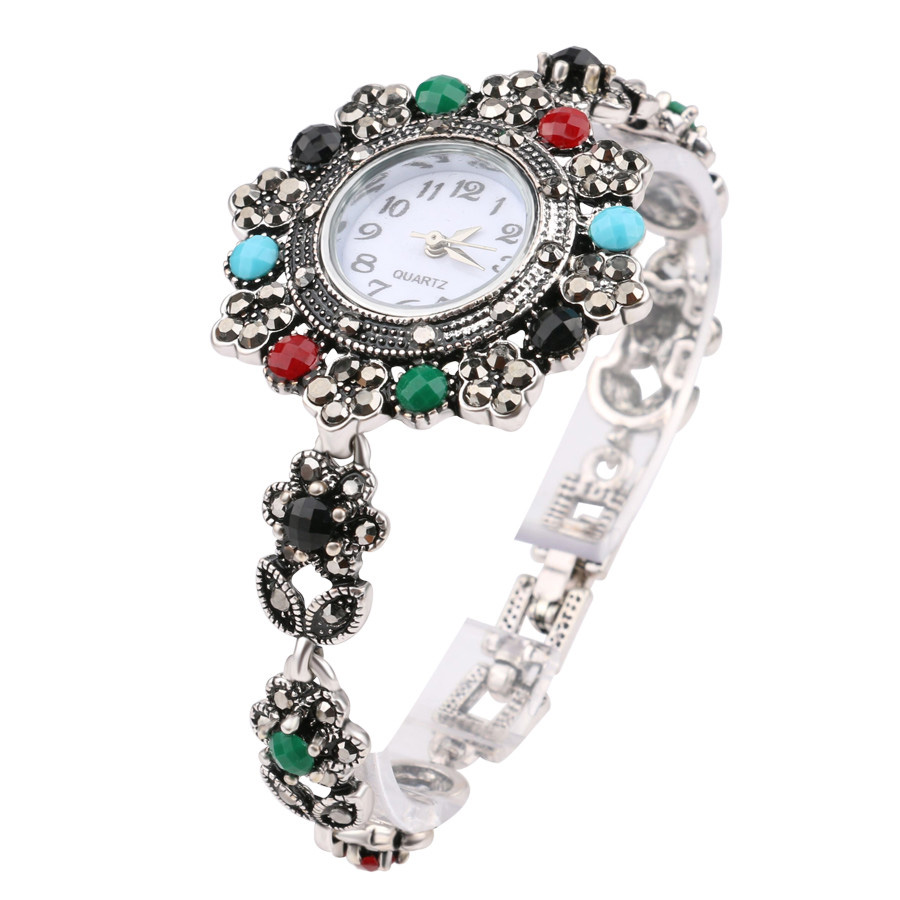 2018 Retro Look Exquisite Decorative Watch Turkey Jewelry For Women Floral Crystal Bracelets Watch For Women Silver Plated2018 Retro Look Exquisite Decorative Watch Turkey Jewelry For Women Floral Crystal Bracelets Watch For Women Silver Plated