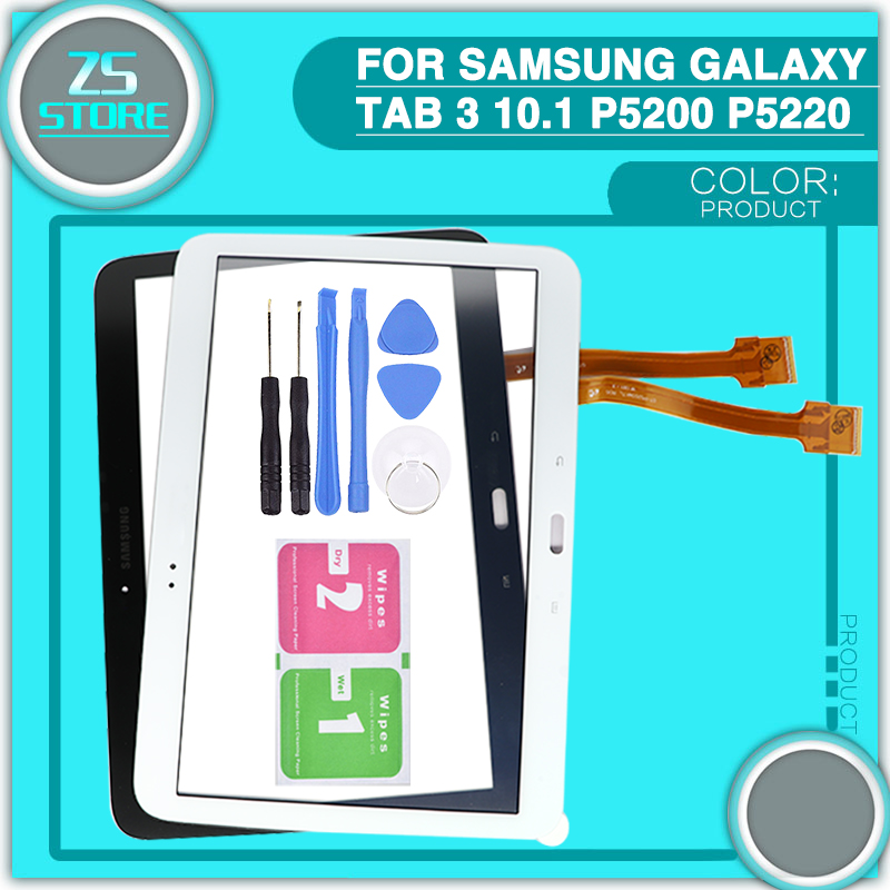new P5200 Touch screen For Samsung Galaxy Tab 3 10.1 P5210 P5220 touch panel Digitizer Sensor Glass Replacement with tool