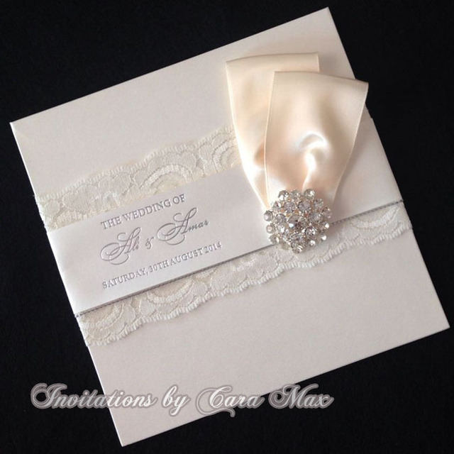 CA0687 Elegant Lace Wedding Invitations with Nice Bowin Cards
