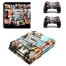 GTA Stil Vinyl Haut Aufkleber für Sony PS4 Pro Konsole und 2 Controller Game[ad Aufkleber Abdeckung Spiel Zubehör