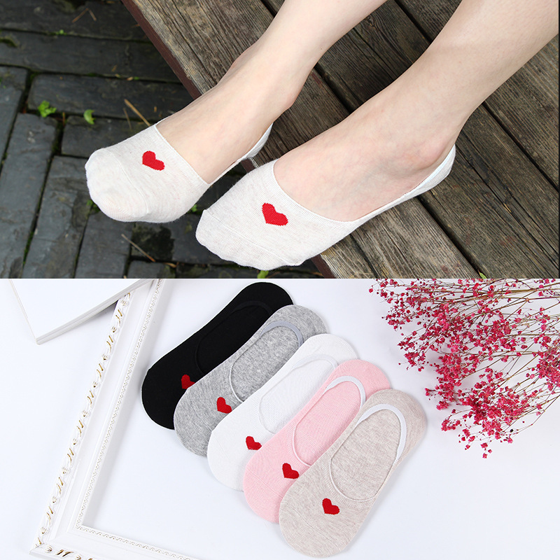 5Pairs Women Invisible Ankle Cotton Socks Cute Cartoon Short Boat Liner Low Cut Soft Red Heart Skarpetki No Show Socks Non-slip