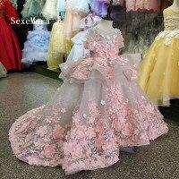 Реальное изображение 2018 Роскошный цветок платье для девочек платье принцессы кружева 3D Цветы аппликация пышные фатиновые детское вечернее