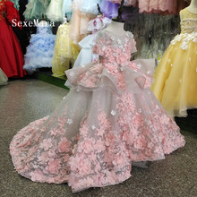 Real Picture New Flower Girls Dress Baby Girl Clothes Lace 3D Flowers Applique Puffy Tulle Kids Birthday Gown Custom Made цена и фото