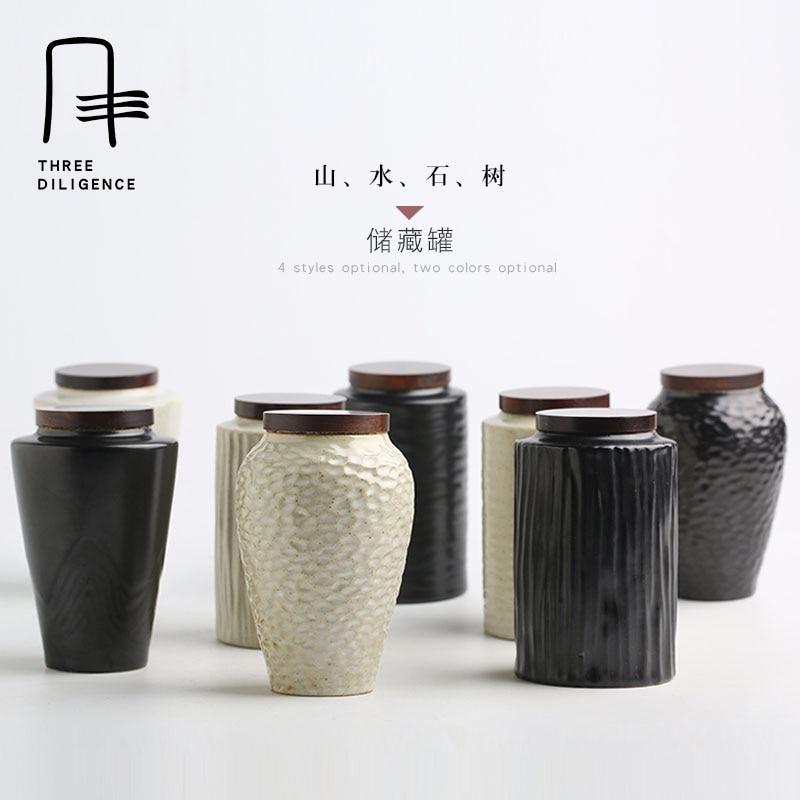 Bulk Ceramic Mason Jars Storage Tea Candy Jar Canister Food Storage Containers with Lids Puer Tea Coffee Pot Teaset Cork Bottle