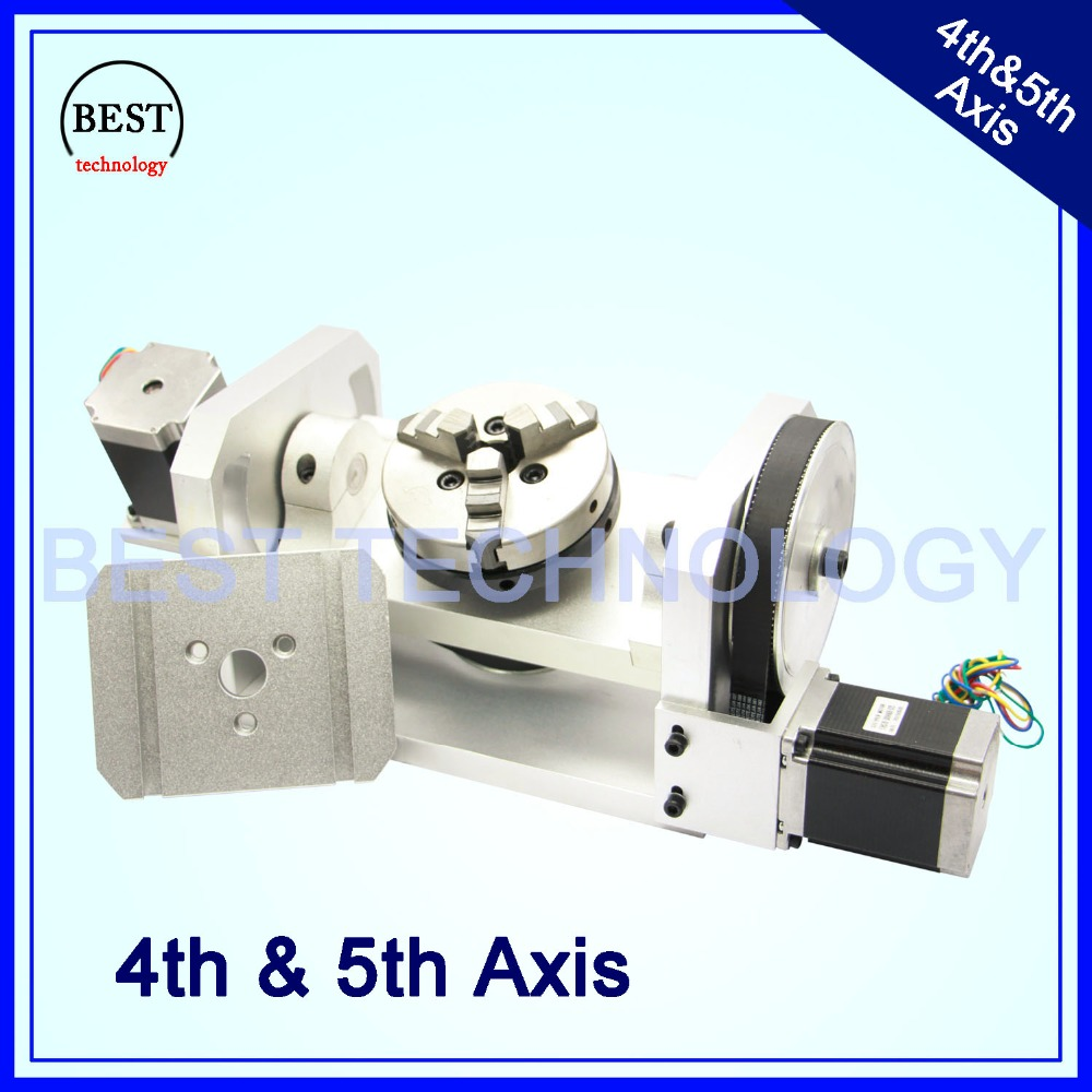 100mm CNC 4th Axis 5th Axis CNC dividing head/Rotation Axis/A axis kit Nema23 for Mini CNC router/engraver woodworking  machine 4 axis cnc kit  nema23 3a 270 oz in