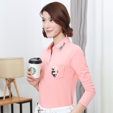 Women Polo Shirts Long Sleeve  M-4XL Plus Size Embroidery Turndown Collar Drop Shipping