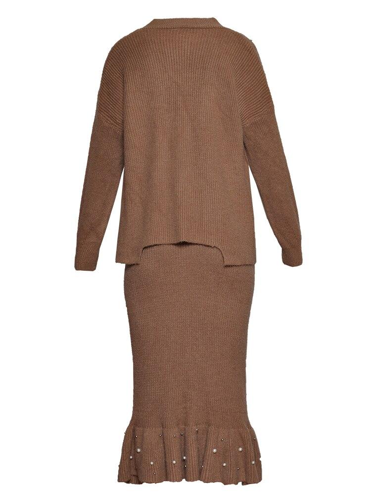 a72a52893246e B costume Droit Perle Couleur 2 La D hiver Perles Occasionnel Manches Chaud  Robe Tricoté Pleine Robes Kaki cou Femmes ...