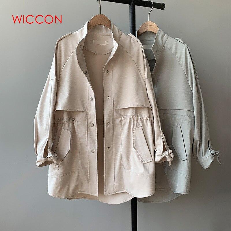 2019 New   Trench   Coat Women Autumn Single Breasted Loose Elastic Waist Korean Casual Long Coat Female Tops