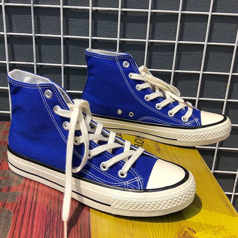Nova primavera alta superior masculino casual vulcanize sapatos menino moda respirável tênis de lona rendas confortáveis sapatos pretos 35-44 b057
