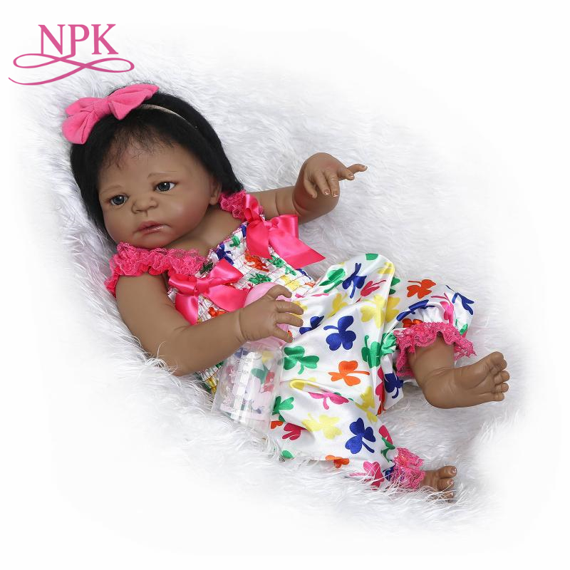 NPK 22 reborn Baby Doll black Girl Dolls full body Soft Silicone Babies Girls Lifelike real born dolls bebe real reborn bonecas цена