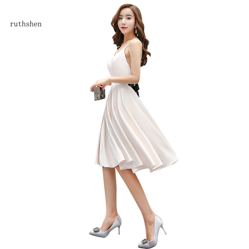 ruthshen Light Champagne Knee Length   Prom     Dresses   Black Belt V-neck Spaghetti Strap Simple Cheap Satin Party Gowns 2018 New
