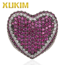 Xukim Jewelry New Pink Purple Blue Stone Cubic Zirconia Love Heart Mens Rings Iced Out Hip Hop Gift for Couple Lover