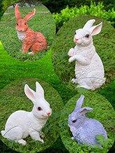 resin sculptures ornaments rabbits sculpture animal for garden artificial crafts bunny decor white brown gray