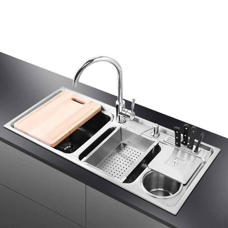 Cucina Bacino SUS304 in acciaio inox a tre di lavaggio del serbatoio verdura pot allungamento multi-funzione con cestino lavello Della Cucina