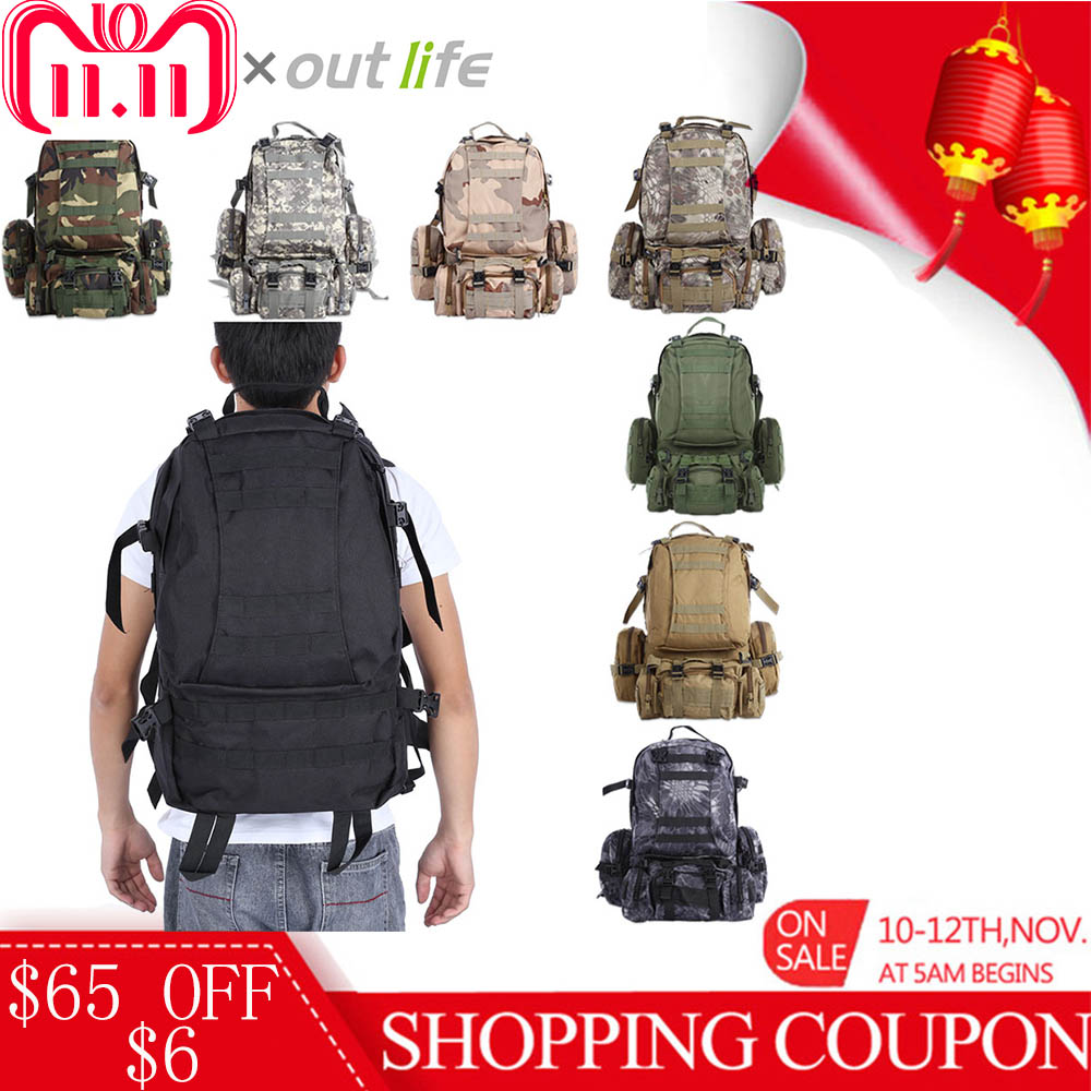 Outlife 50L Military Tactical Backpack Molle Outdoor Bag Rucksack Camping Hiking Bag Trekking Backpack Camouflage Sport