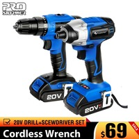 PROSTORMER 20V Cordless Impact Drill Cordless Screwdriver Optional Two Piece Set 2000mAh Wireless Rechargeable Screwdriver