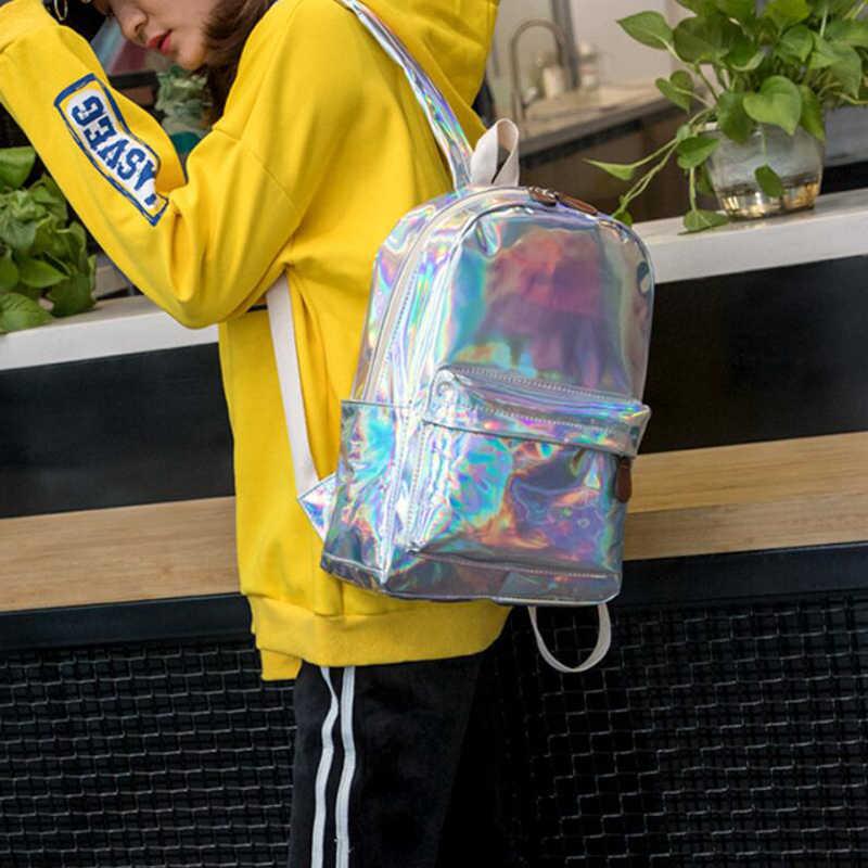 Лазерный удобный рюкзак для путешествий сумки для женщин обувь для девочек рюкзак из искусственной кожи с голографический дизайном школьные ранцы подростков