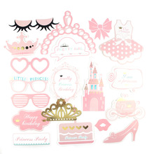 20 pcs Pink Princess Birthday Photo Booth Props on A Stick For Girls First Party Baby Shower Favors
