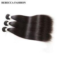 Rebecca Cabelo Reto Malaio 3 Pacotes Remy Cabelo Weave 8 para 30 polegada Agrupar Cabelo do Salão de beleza da Extensão Do Cabelo Humano não processado lidar
