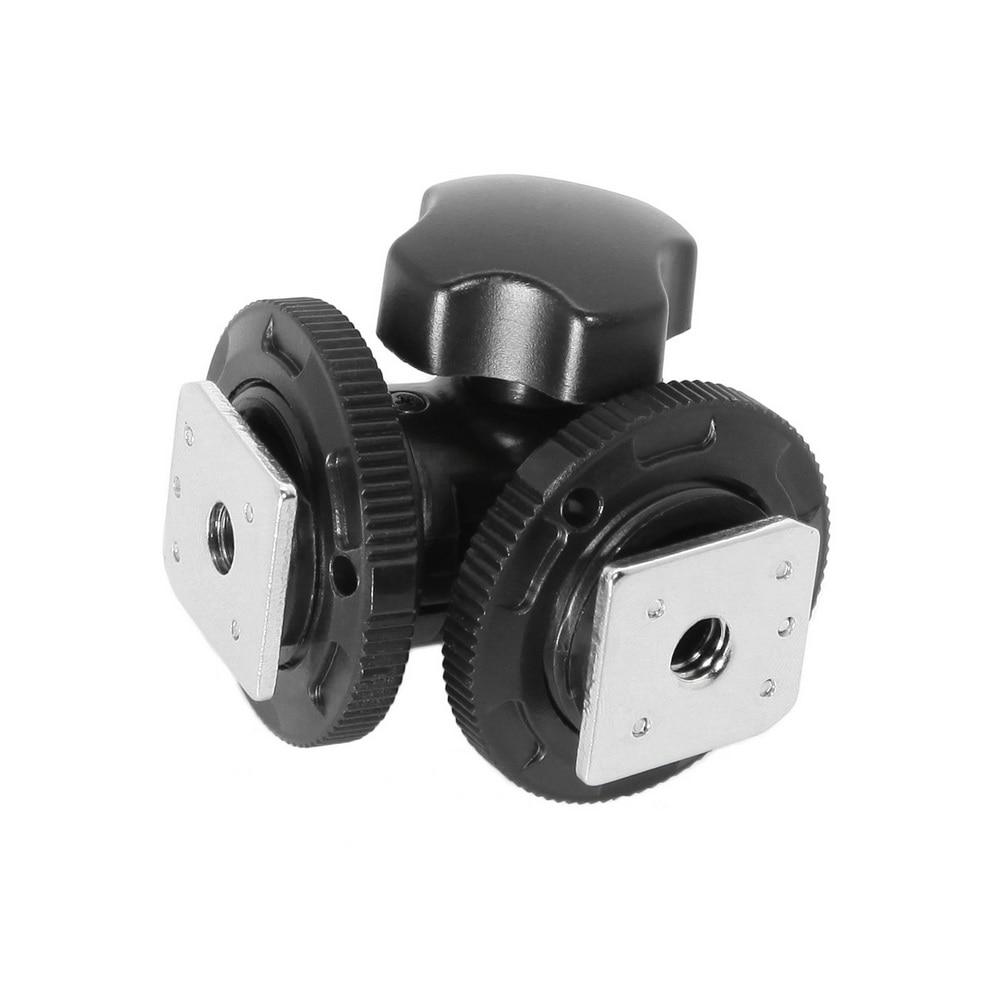 Meking Rotatable Dual Hot Shoe Adapter Bracket Holder Mount For LED Video Light DSLR Camera Hotshoe Adapter Angle Adjustable